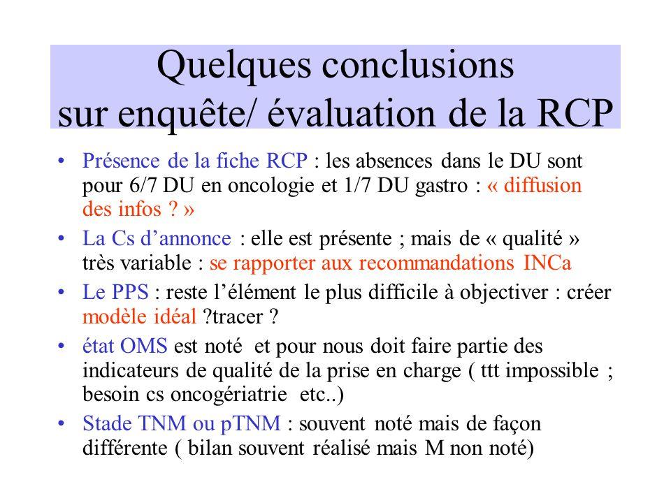 Quelques conclusions sur enquête/ évaluation de la RCP