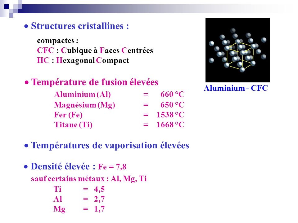  Structures cristallines :