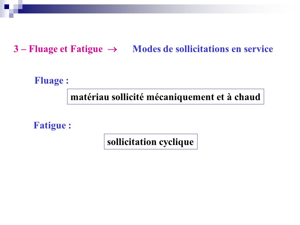 3 – Fluage et Fatigue  Modes de sollicitations en service