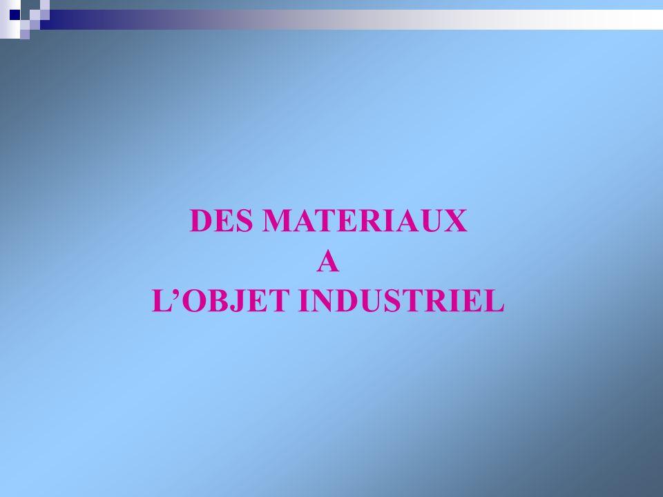 DES MATERIAUX A L'OBJET INDUSTRIEL