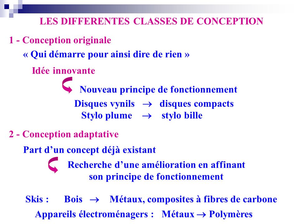 LES DIFFERENTES CLASSES DE CONCEPTION