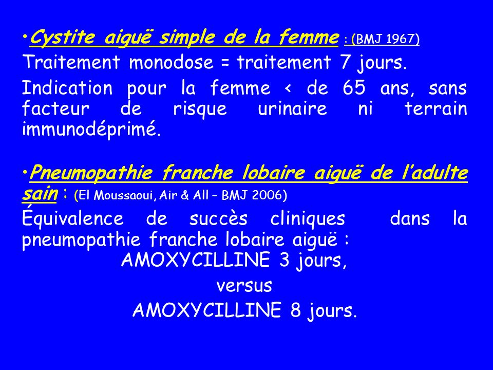 Cystite aiguë simple de la femme : (BMJ 1967)