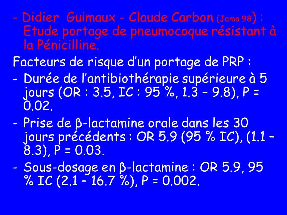 - Didier Guimaux - Claude Carbon (Jama 98) : Etude portage de pneumocoque résistant à la Pénicilline.