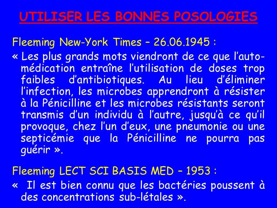 UTILISER LES BONNES POSOLOGIES