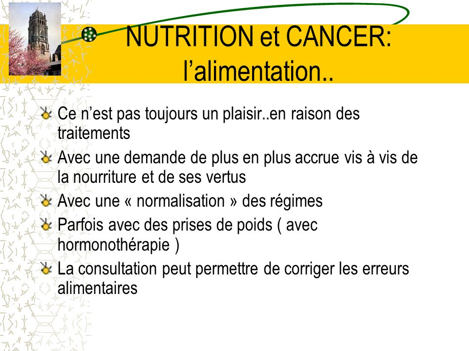NUTRITION et CANCER: l'alimentation..