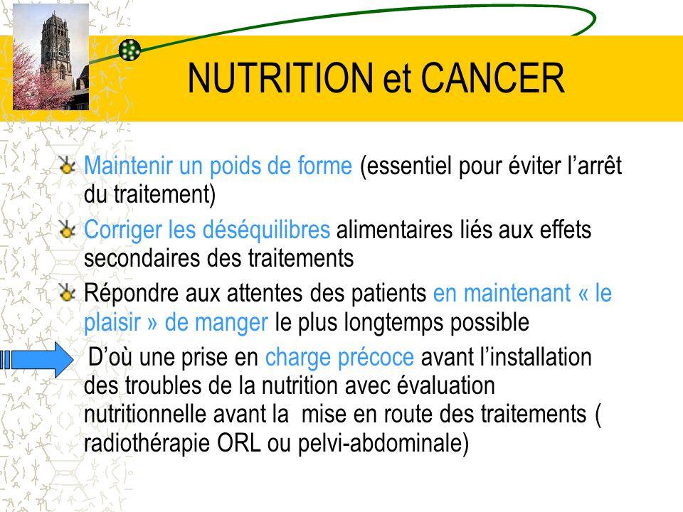 NUTRITION et CANCER Maintenir un poids de forme (essentiel pour éviter l'arrêt du traitement)