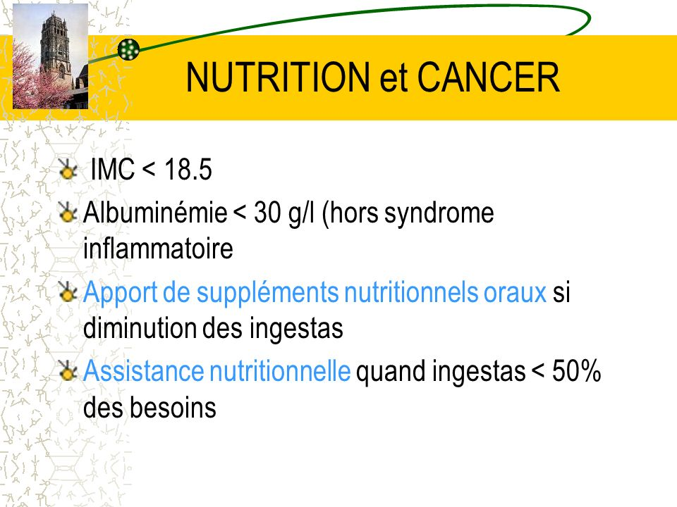 NUTRITION et CANCER IMC < 18.5