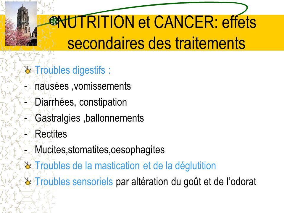 NUTRITION et CANCER: effets secondaires des traitements