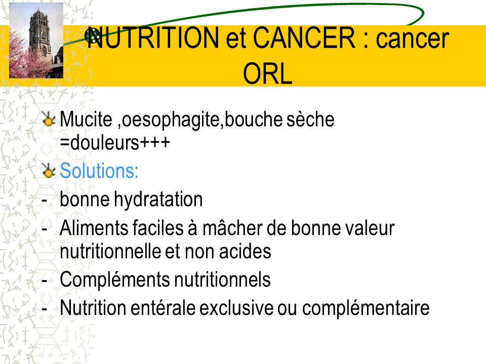 NUTRITION et CANCER : cancer ORL