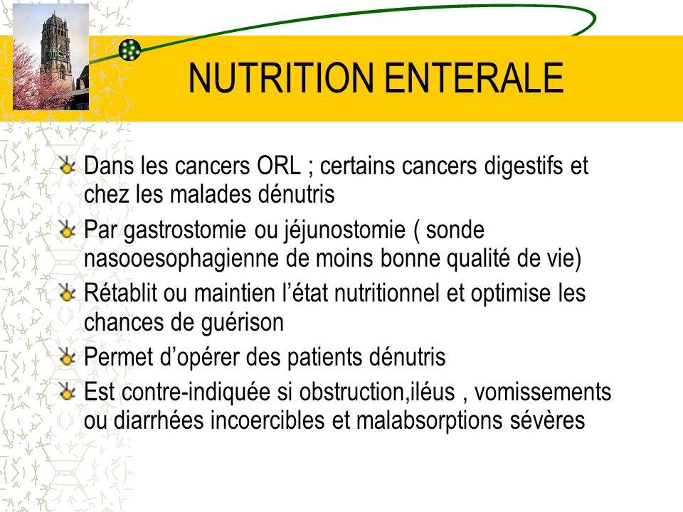 NUTRITION ENTERALE Dans les cancers ORL ; certains cancers digestifs et chez les malades dénutris.