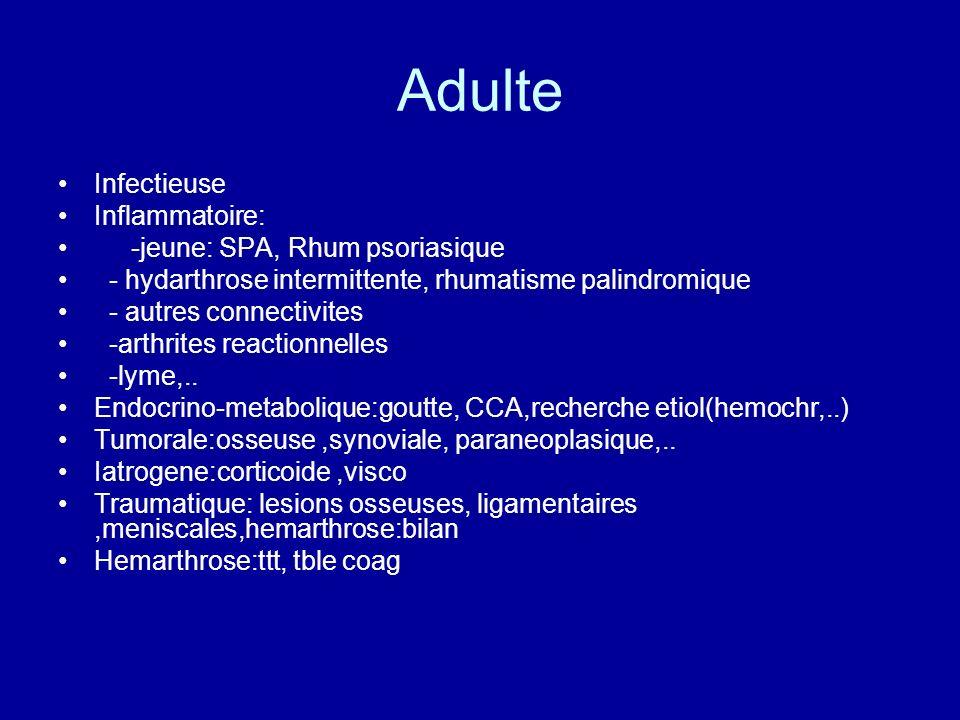Adulte Infectieuse Inflammatoire: -jeune: SPA, Rhum psoriasique
