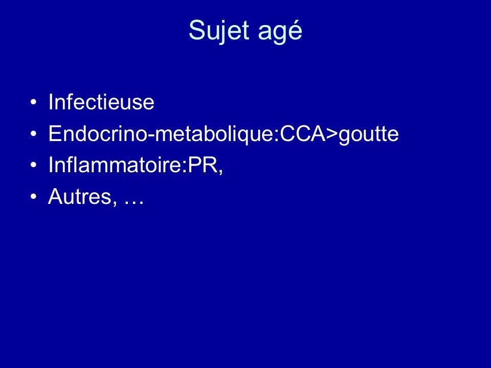 Sujet agé Infectieuse Endocrino-metabolique:CCA>goutte