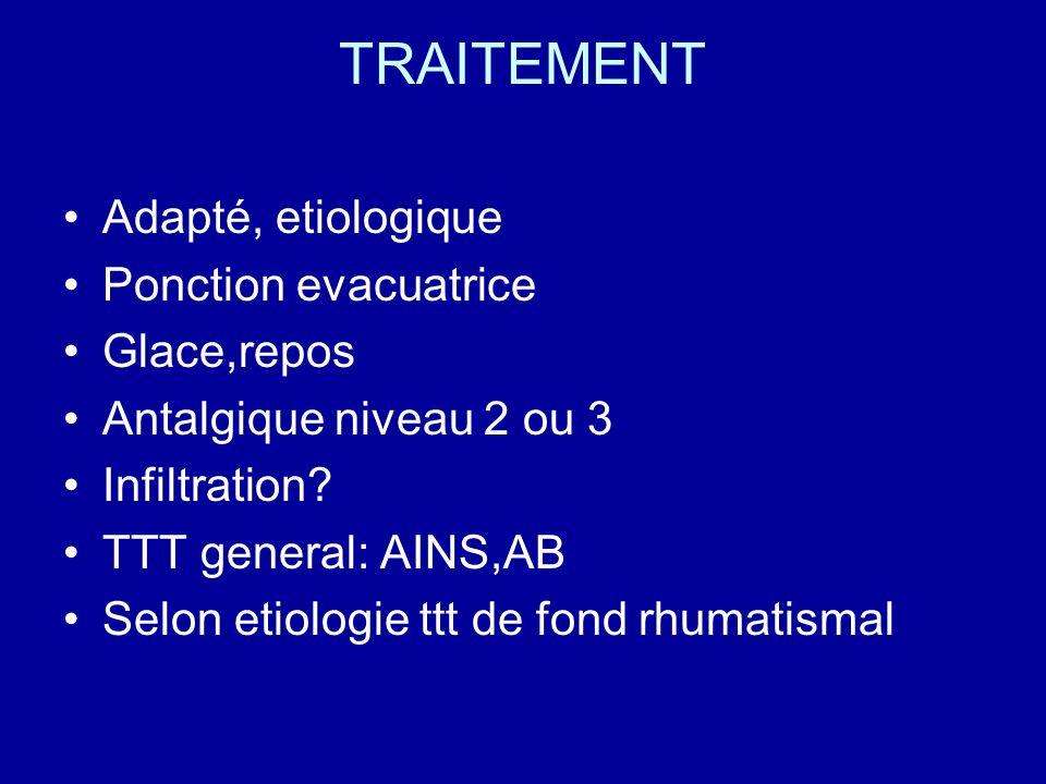 TRAITEMENT Adapté, etiologique Ponction evacuatrice Glace,repos