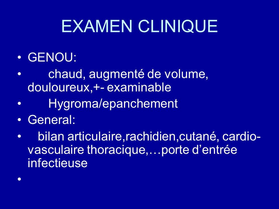 EXAMEN CLINIQUE GENOU:
