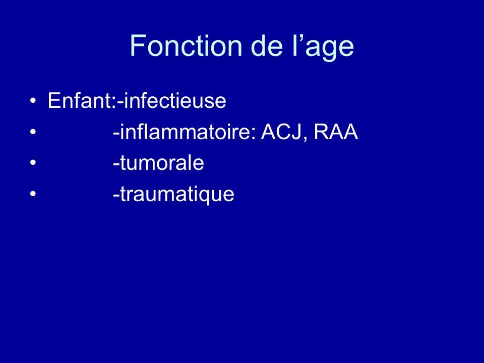 Fonction de l'age Enfant:-infectieuse -inflammatoire: ACJ, RAA