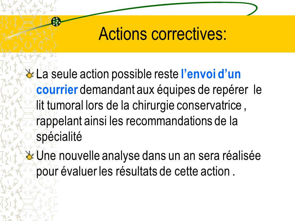 Actions correctives: