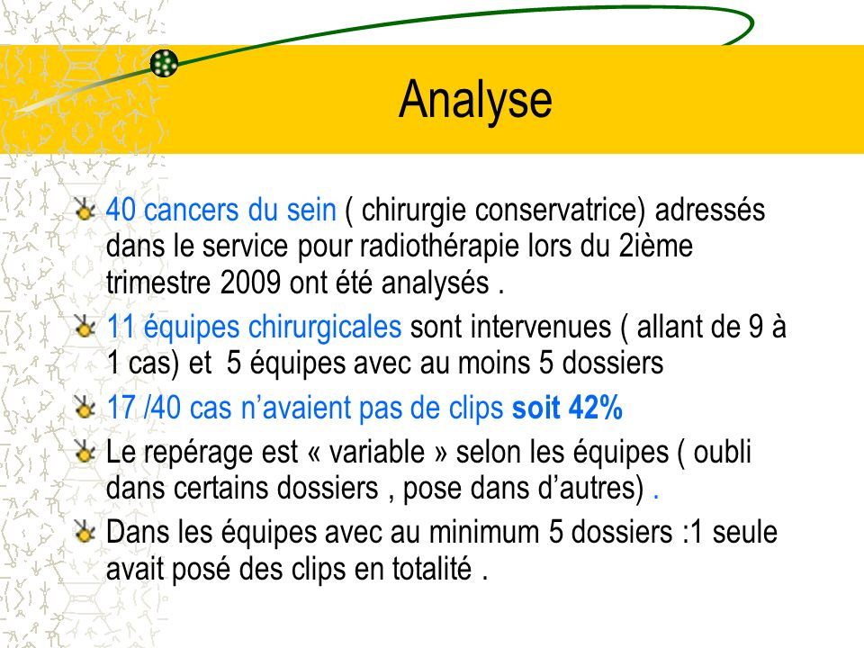 Analyse40 cancers du sein ( chirurgie conservatrice) adressés dans le service pour radiothérapie lors du 2ième trimestre 2009 ont été analysés .