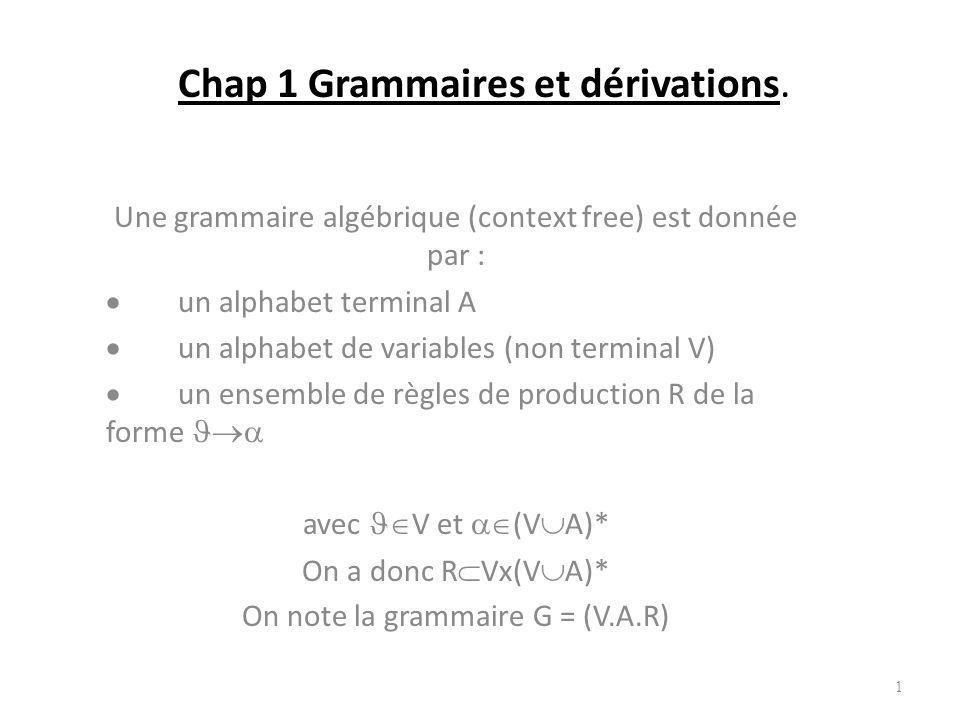 Chap 1 Grammaires et dérivations.