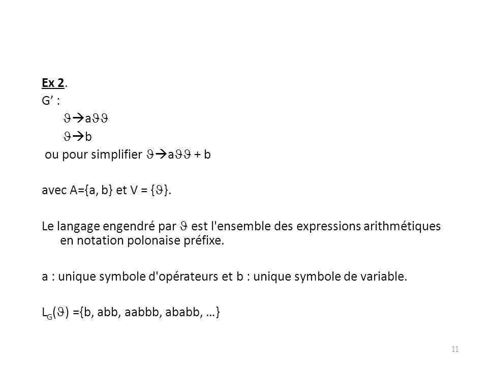 Ex 2. G' : a b ou pour simplifier a + b avec A={a, b} et V = {}.