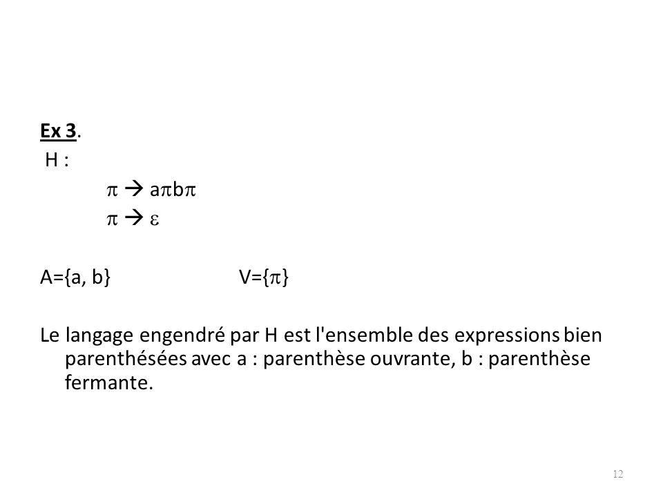 Ex 3. H :   ab    A={a, b} V={}