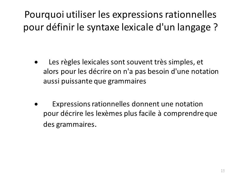 Pourquoi utiliser les expressions rationnelles pour définir le syntaxe lexicale d un langage