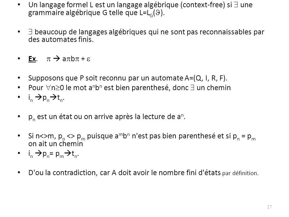 Un langage formel L est un langage algébrique (context-free) si  une grammaire algébrique G telle que L=LG().