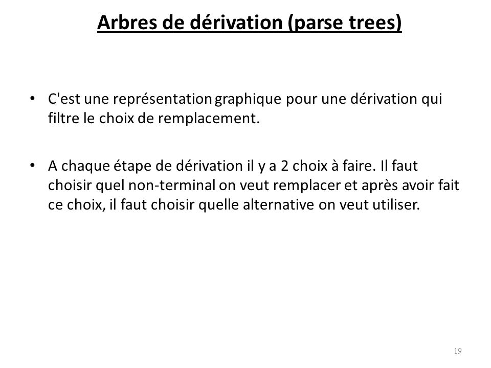 Arbres de dérivation (parse trees)