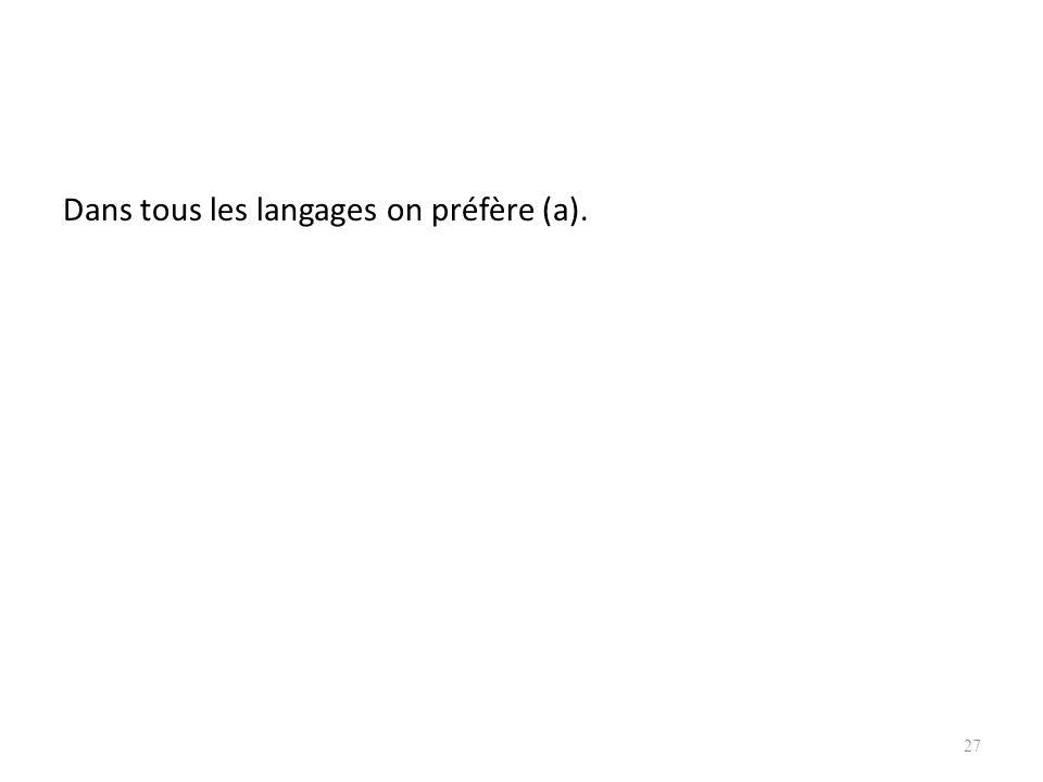 Dans tous les langages on préfère (a).