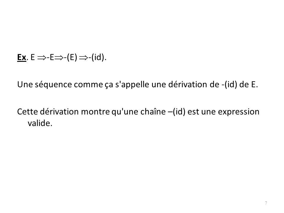 Ex. E -E-(E) -(id). Une séquence comme ça s appelle une dérivation de -(id) de E.
