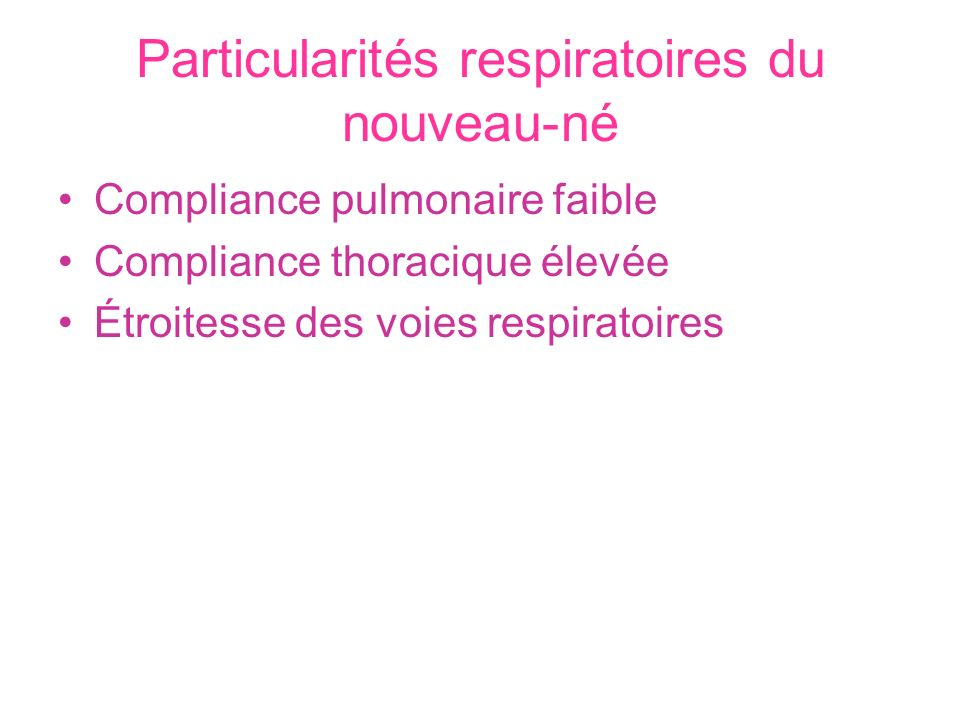 Particularités respiratoires du nouveau-né