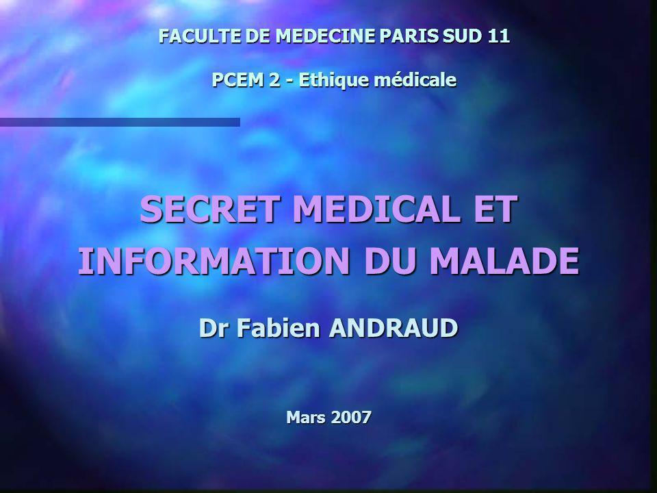 FACULTE DE MEDECINE PARIS SUD 11 PCEM 2 - Ethique médicale