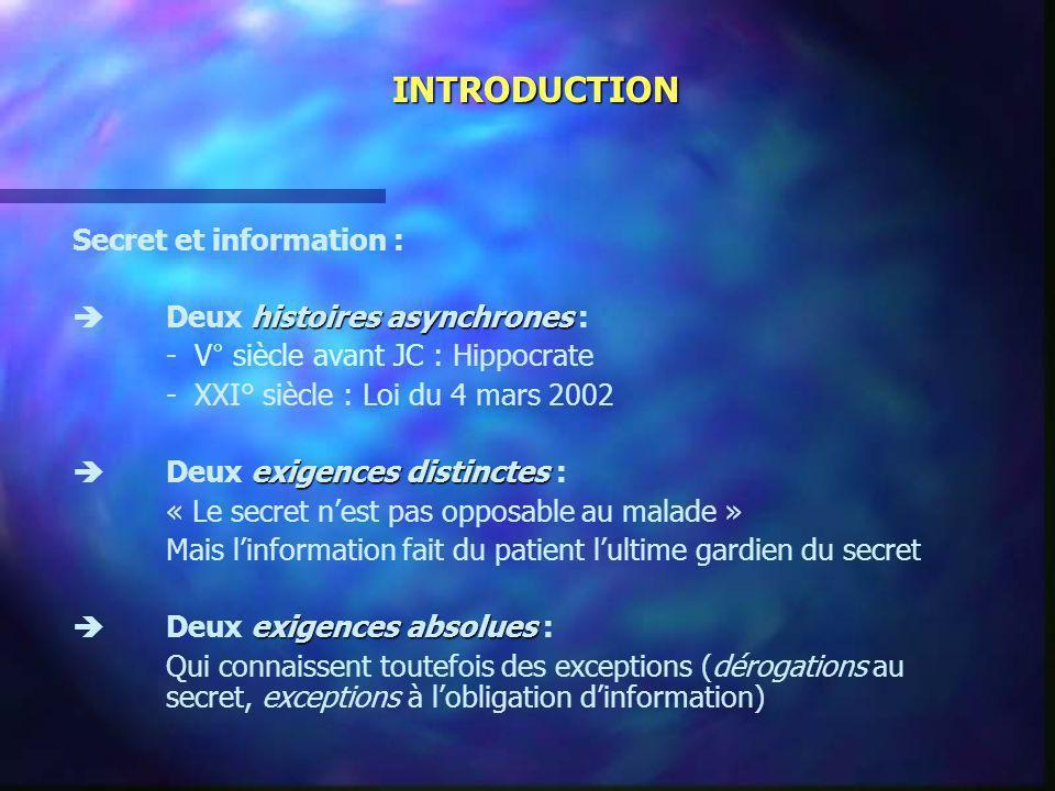 INTRODUCTION Secret et information :  Deux histoires asynchrones :