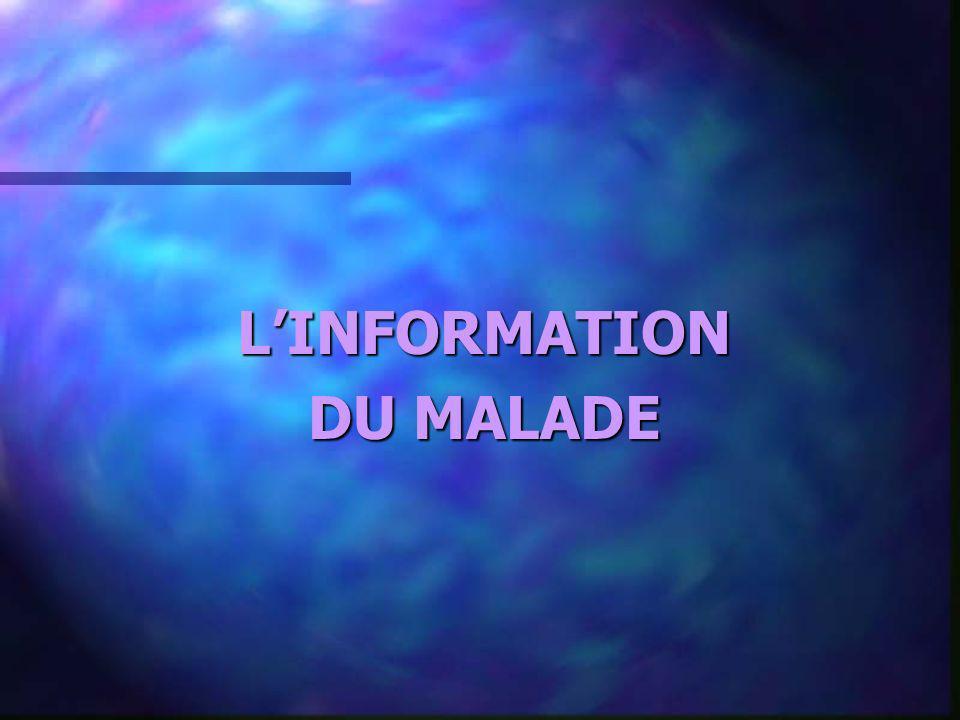 L'INFORMATION DU MALADE