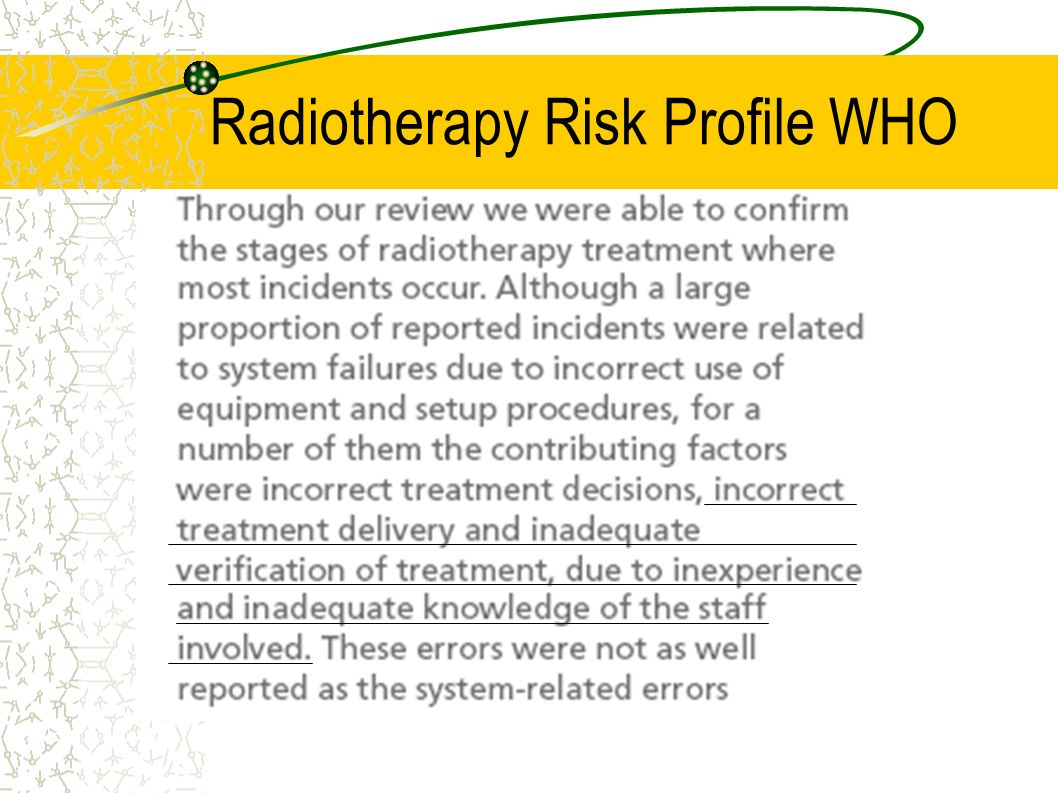 Radiotherapy Risk Profile WHO