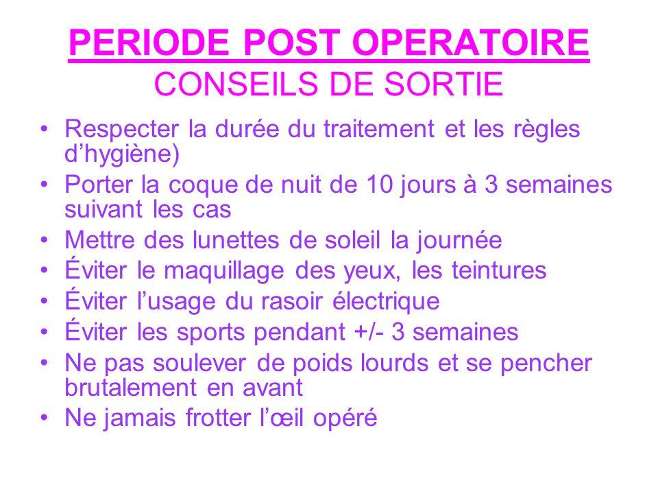 PERIODE POST OPERATOIRE CONSEILS DE SORTIE
