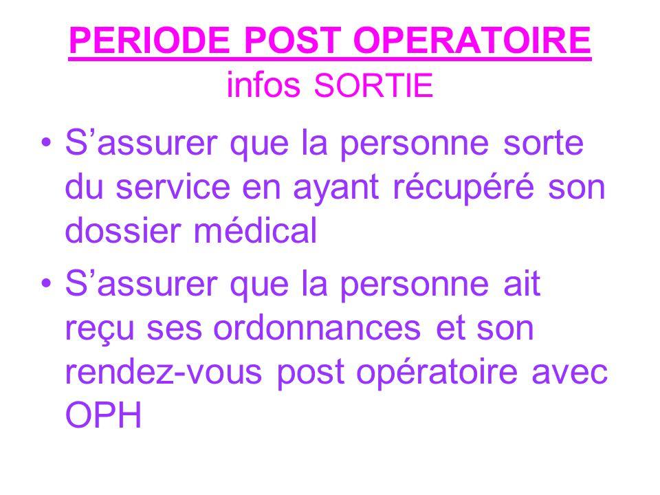 PERIODE POST OPERATOIRE infos SORTIE