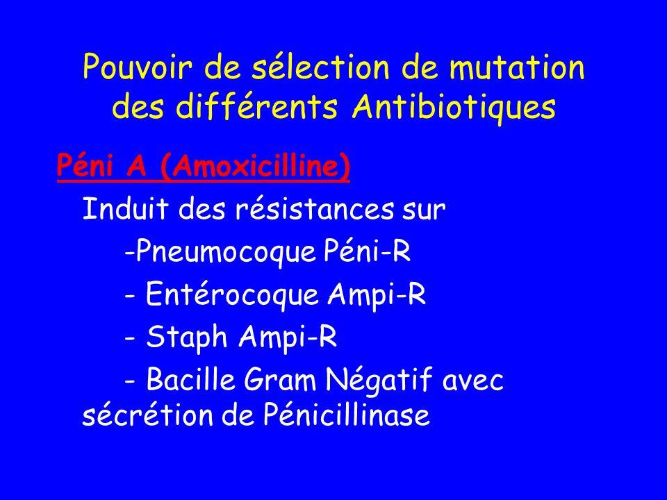 Pouvoir de sélection de mutation des différents Antibiotiques