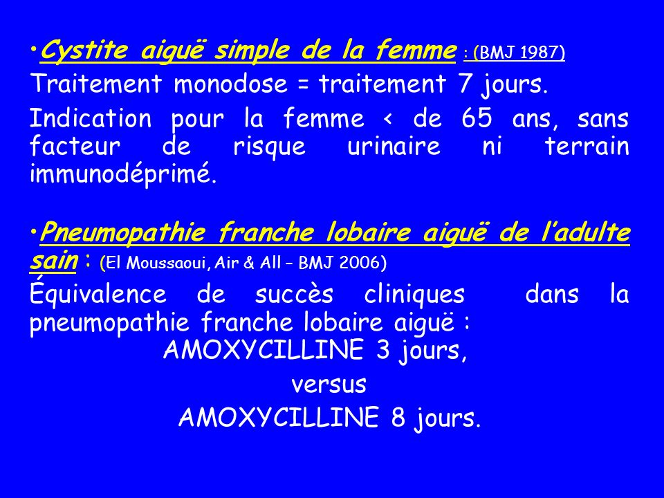 Cystite aiguë simple de la femme : (BMJ 1987)