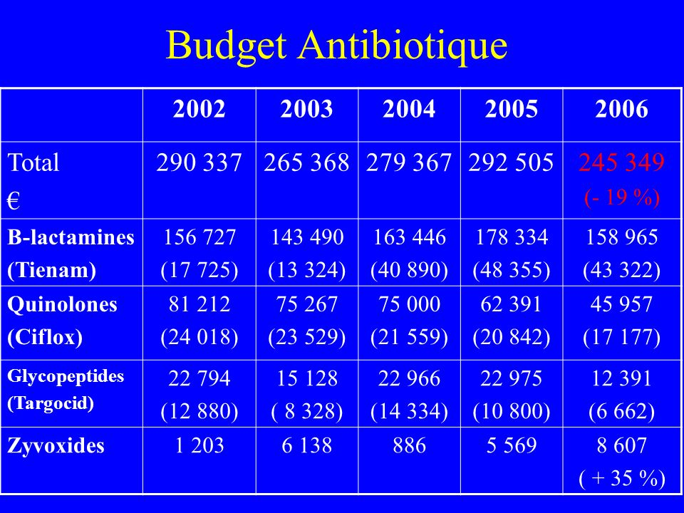 Budget Antibiotique 2002 2003 2004 2005 2006 Total € 290 337 265 368