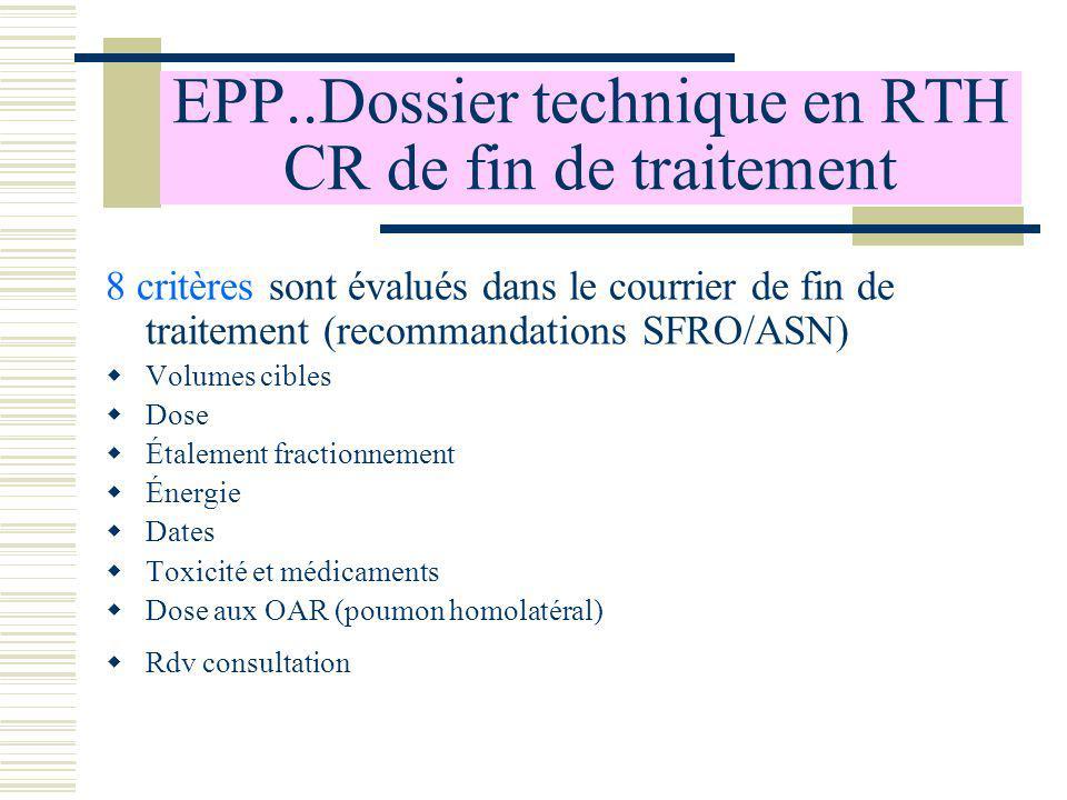 EPP..Dossier technique en RTH CR de fin de traitement