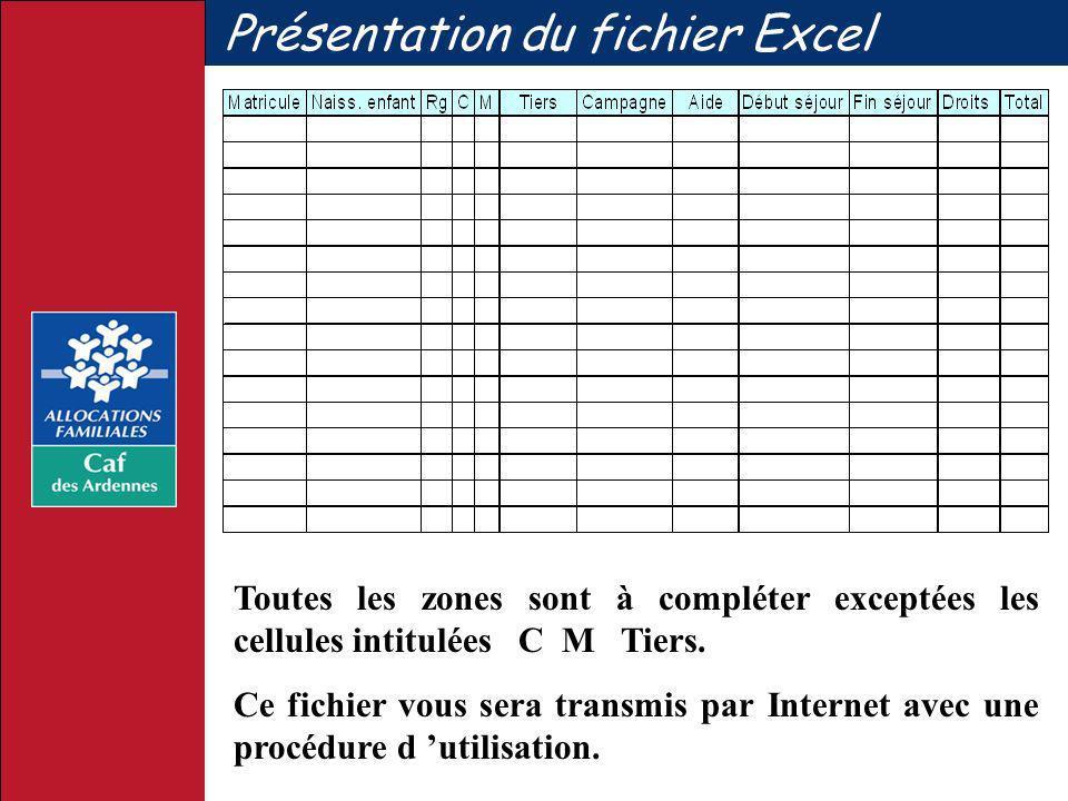 Présentation du fichier Excel