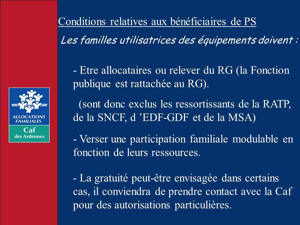 Conditions relatives aux bénéficiaires de PS