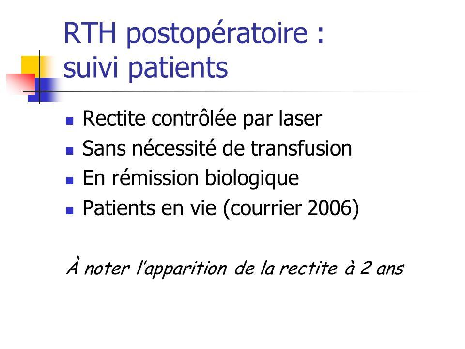 RTH postopératoire : suivi patients