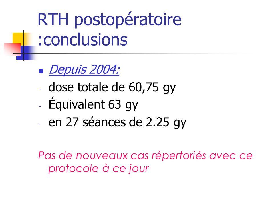 RTH postopératoire :conclusions