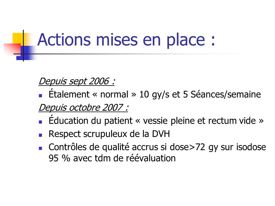 Actions mises en place :
