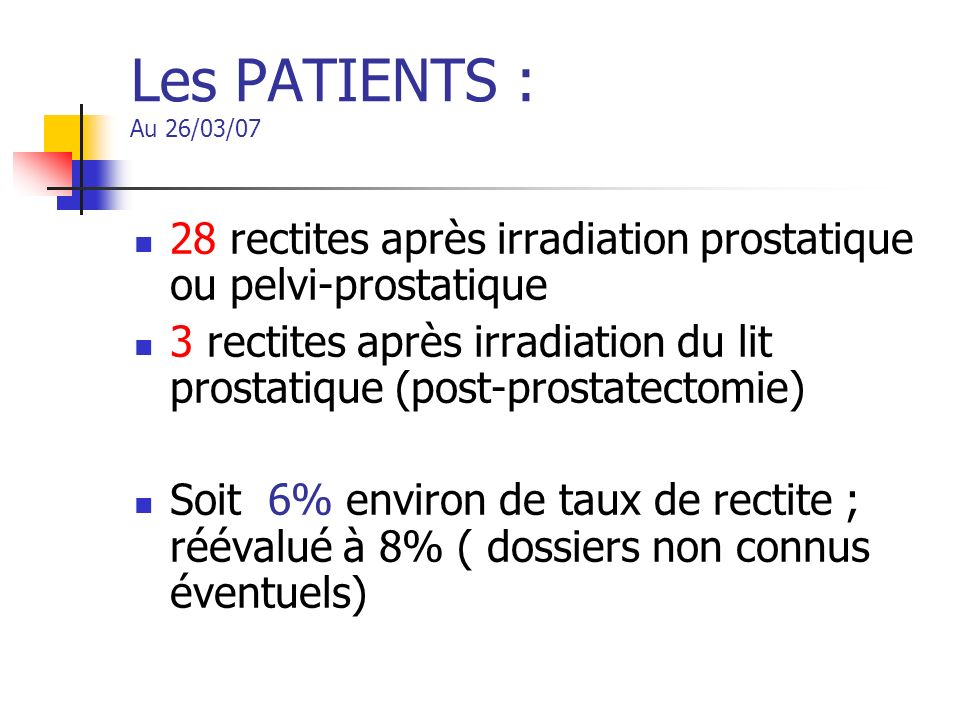 Les PATIENTS : Au 26/03/07 28 rectites après irradiation prostatique ou pelvi-prostatique.