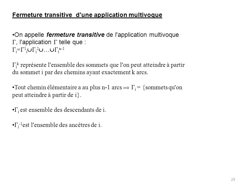 Fermeture transitive d une application multivoque