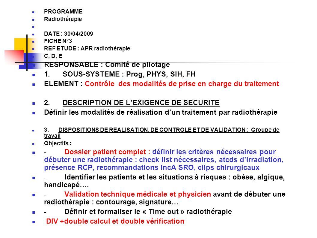 RESPONSABLE : Comité de pilotage 1. SOUS-SYSTEME : Prog, PHYS, SIH, FH