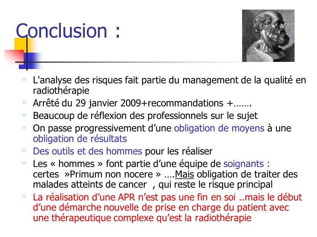 Conclusion :L analyse des risques fait partie du management de la qualité en radiothérapie. Arrêté du 29 janvier 2009+recommandations +…….