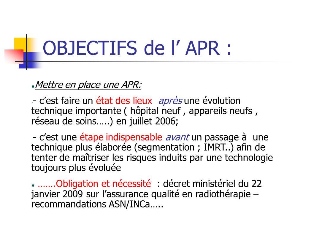 OBJECTIFS de l' APR : Mettre en place une APR: